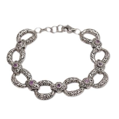 Amethyst link bracelet, 'Garden Chain' - Amethyst and Sterling Silver Link Bracelet from Bali