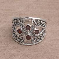 Garnet cocktail ring, 'Vine Queen'