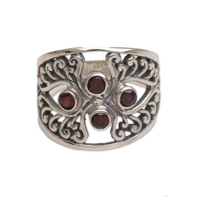 Garnet cocktail ring, 'Vine Queen' - Garnet and Sterling Silver Cocktail Ring from Bali