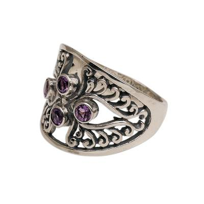 Amethyst cocktail ring, 'Vine Queen' - Amethyst and Sterling Silver Cocktail Ring from Bali