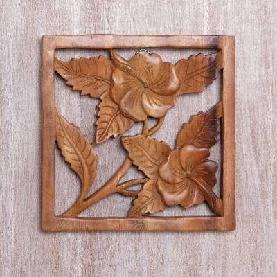 Wood relief panel, 'Hibiscus Window' - Handmade Square Floral Suar Wood Relief Panel from Bali