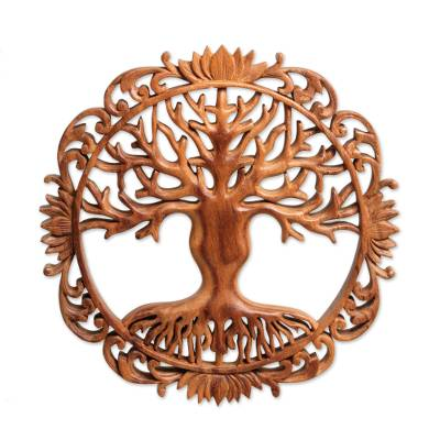 Wood relief panel, 'Mother Tree' - Suar Wood Floral and Tree-Themed Relief Panel from Bali