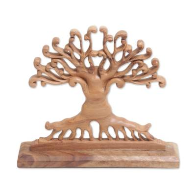 Wood sculpture, 'Courage Grows' - Handcrafted Suar Wood Tree Sculpture from Bali