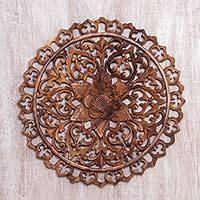 Wood relief panel, 'Bursting Flower' - Hand-Carved Floral Suar Wood Relief Panel from Bali