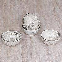 Ceramic dessert bowls, 'Rustic Table' (set of 4) - Set of 4 Black and White Ceramic Dessert Bowls from Bali