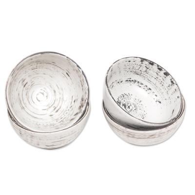 Ceramic dessert bowls, 'Rustic Table' (set of 4) - Set of 4 Black and White Ceramic Dessert Bowls from Bali