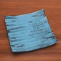 Ceramic platter, 'Daydreams in Blue' - Handcrafted Blue and Black Ceramic Platter from Bali