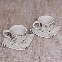 Ceramic cups and saucers, 'Rustic Table' - Distressed Look Ceramic Cups and Saucers in White (Pair)