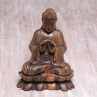 Wood statuette, 'Vitarka Buddha on Lotus' - Balinese Hand Carved Hibiscus Wood Vitarka Buddha Statuette