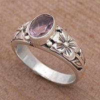 Amethyst single stone ring, 'Petal Treasure' - Floral Purple Amethyst Single Stone Ring from Bali
