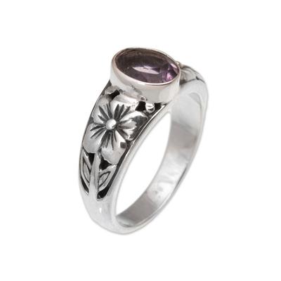 Amethyst single stone ring, 'Petal Treasure' - Floral Purple Amethyst Single Stone Ring from Bali
