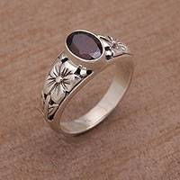 Garnet single stone ring, 'Petal Treasure' - Floral Natural Garnet Single Stone Ring from Bali