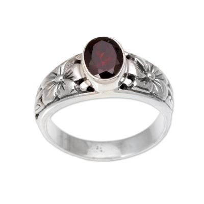 Garnet single stone ring, 'Petal Treasure' - Floral Natural Garnet Single Stone Ring from Bali