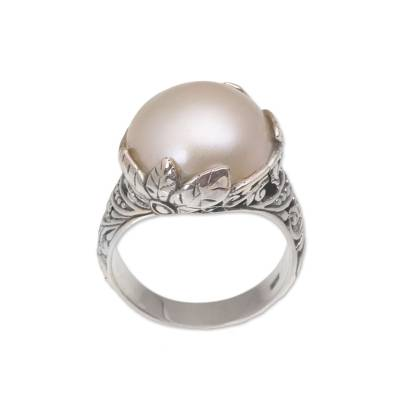 Cultured mabe pearl cocktail ring, 'Moonlight Bloom in White' - White Cultured Pearl Cocktail Ring from Bali