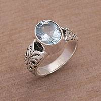 Blue topaz single stone ring, 'Grow On'
