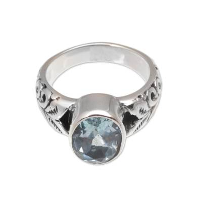 Blue topaz single stone ring, 'Grow On' - Faceted Oval Blue Topaz Single Stone Ring from Bali