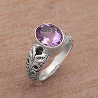 Amethyst single stone ring, 'Grow On' - Faceted Oval Amethyst Single Stone Ring from Bali