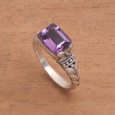 Amethyst single stone ring, 'Padang Galak Beauty' - Faceted Purple Amethyst Single Stone Ring from Bali