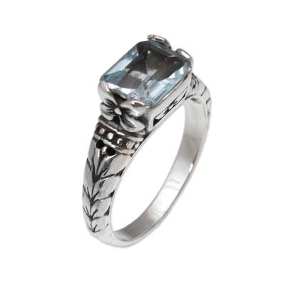 Blue topaz single stone ring,
