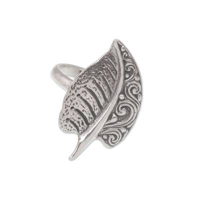 Sterling silver cocktail ring, 'Two-Sided' - Sterling Silver Leaf Cocktail Ring from Bali
