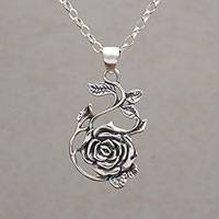 Sterling silver pendant necklace, 'Thorny Rose' - Sterling Silver Rose Pendant Necklace from Bali