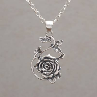 4a91109fc85f2 Sterling Silver Rose Pendant Necklace from Bali, 'Thorny Rose'