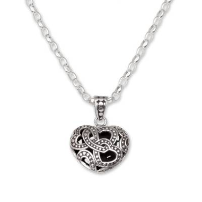 Sterling silver pendant necklace, 'Embraced by Love' - Sterling Silver Openwork Heart Necklace from Bali