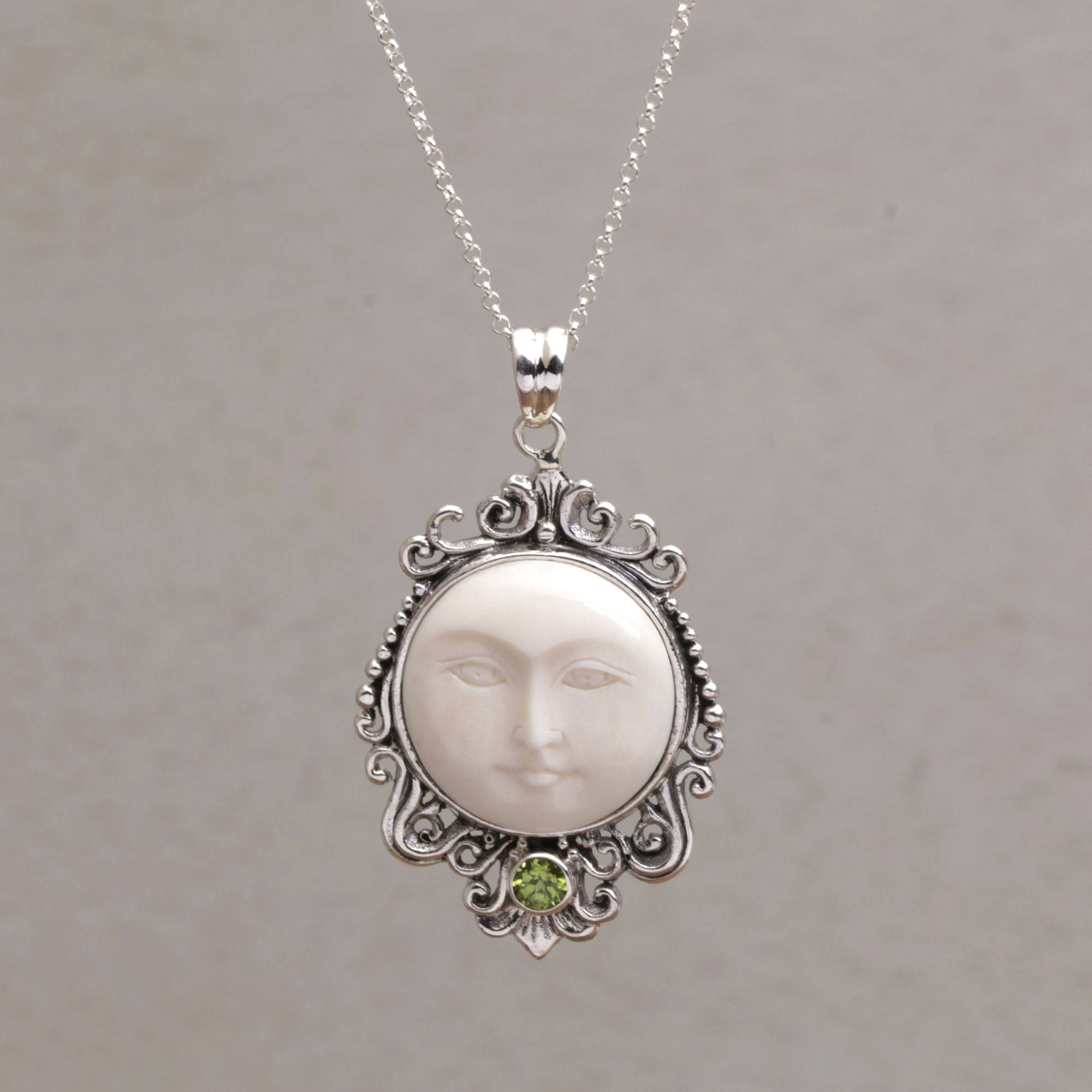 Peridot And Bone Moon Pendant Necklace From Bali Moonlight Stare Novica