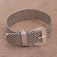 Sterling silver wristband bracelet, 'Belt of Tenganan' - Handcrafted Sterling Silver Chain Bracelet from Bali