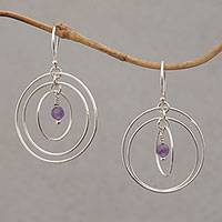 Amethyst dangle earrings, 'Atoms' - Amethyst and Sterling Silver Dangle Earrings form Bali