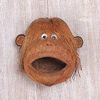 Coconut shell bird feeder, 'Gorilla Buddy' - Gorilla-Shaped Coconut Shell Bird Feeder from Bali