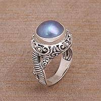 Cultured pearl cocktail ring, 'Seaside Glow' - Elegant Cocktail Ring with Blue Cultured Pearl