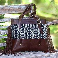 Leather and cotton ikat shoulder bag, 'Muria Primitive' - Cotton Ikat and Leather Shoulder Bag with Fringe