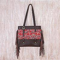 Leather and cotton ikat shoulder bag, 'Jepara Primitive' - Fringed Brown Leather and Cotton Ikat Handbag