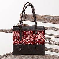 Leather and cotton ikat shoulder bag, 'Jepara Tradition' - Hand Woven Cotton and Leather Shoulder Bag from Java