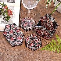 Wood batik coasters, 'Kembang Memory' (set of 6) - Handcrafted Wood Batik Coasters from Indonesia (Set of 6)