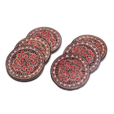 Wood batik coasters, 'Phoenix Flowers' (set of 6) - Hand Stamped Wood Batik Coasters from Java (Set of 6)