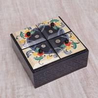 Wood decorative box, 'Javanese Secret' - Floral Batik Wood Decorative Box from Indonesia