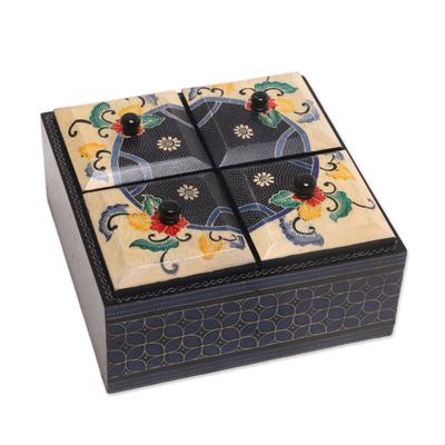 Floral Batik Wood Decorative Box from Indonesia