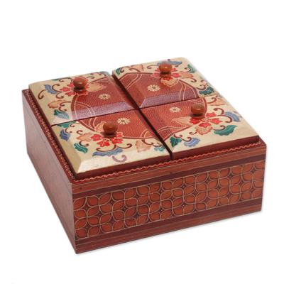 Wood decorative box, 'Javanese Memory' - Floral Batik Wood Decorative Box from Indonesia