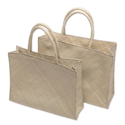Novica Pandan leaf shopping bags, Tropical Outing (pair)