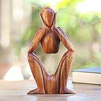 Wood statuette, 'Boredom' - Natural Suar Wood Sculpture of Bored Figure