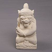 Sandstone sculpture, 'Merdah' - Hand-Carved Sandstone Sculpture of Merdah from Bali