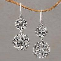 Sterling silver dangle earrings, 'Gianyar Swirls' - Round Sterling Silver Dangle Earrings with Lacy Motifs