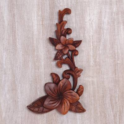 Wood relief wall panel, 'Touch of Jepun' - Hand Carved Suar Wood Relief Panel of Frangipani