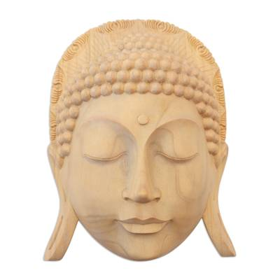 Hand Crafted Crocodile Wood Mask of Buddha