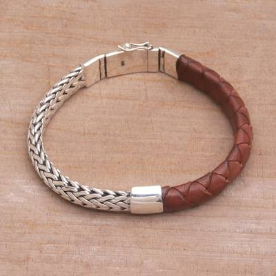 Men's sterling silver and leather bracelet, 'Halfway Home' - Combination Brown Leather and Silver Men's Bracelet
