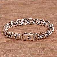 Sterling silver link bracelet, 'Luminous Link' - Handmade Indonesian 925 Sterling Silver Bracelet