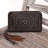 Leather wallet clutch, 'Borobudur Stars in Chocolate' - Hand Crafted Brown Leather Wallet Clutch from Bali