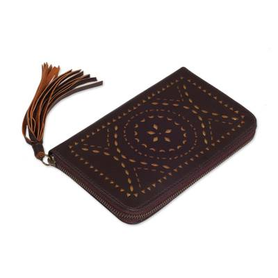 Hand Crafted Brown Leather Wallet Clutch from Bali